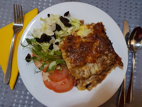 Cue, Australia: Home made lasagne and small side salad.  Delish!