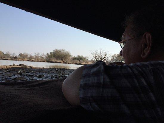 Mashatu Game Reserve, Botsuana: Gazing out of Matebole Elephant Hide at Mashatu