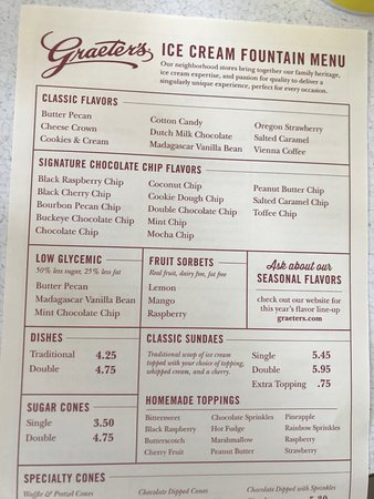 Graeter's Ice Cream: Menu