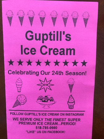 Guptill's Coney Express Ice Cream: Page 1 of 2018 menu