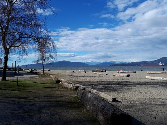 View of the Coast Mountains from Spanish Banks.