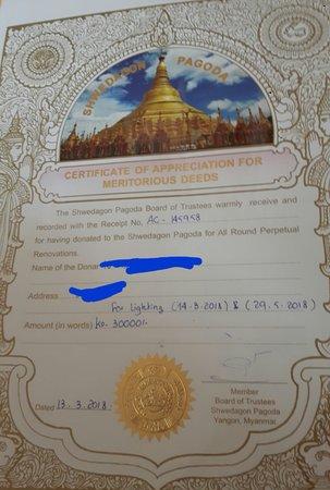 certificate of donation ヤンゴン シュエダゴン パゴダの写真