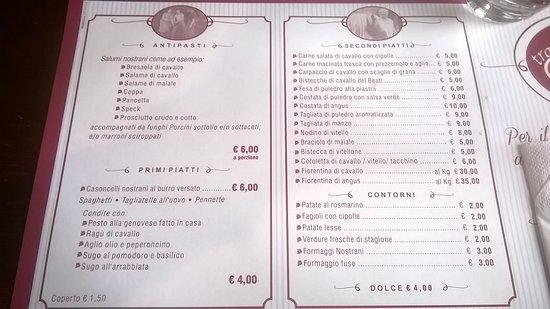 Artogne, อิตาลี: il menù