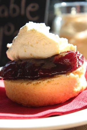 Brighton, Australia: Scones with cream and housemate strawberry jam...