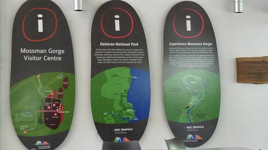 Signs at Mossman Gorge Visitor Centre