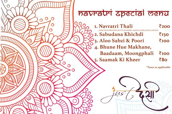 Kotputli, India: An exclusive Navratri Special Menu for travellers who're fasting during the 9 auspicious days.