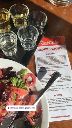 Cobble Hill, Canada: Cider samples and smoked salmon salad at Merridale Cidery