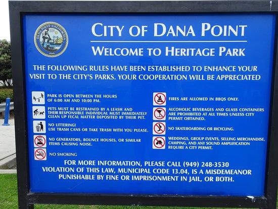 Dana Point Heritage Park plaque