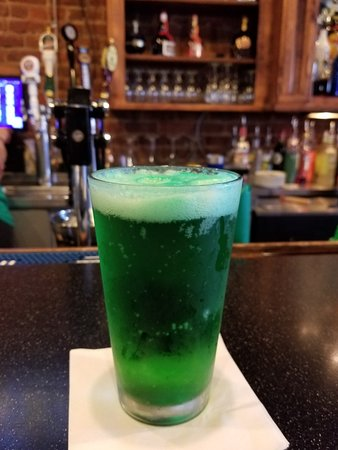 Anderson, SC: Green beer at Doolittle's on St. Patrick's Day. Notice the well-stocked bar.