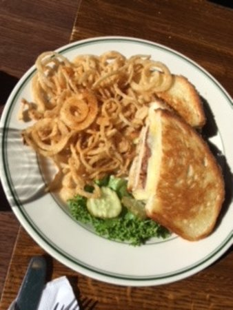 The Old Fashioned: Wood Grilled Chicken Breast with Braunschweiger & Haystack Onion Strings
