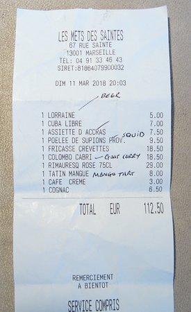 Les Mets des Saintes: The bill.