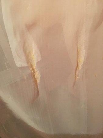 Karlin: Esta es la mancha en la cortina de la que nos acusaban. Como puede verse, no es liquido.