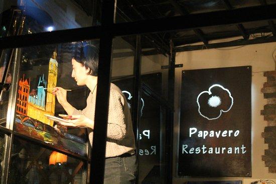 Papavero Restaurant: our artist :)))