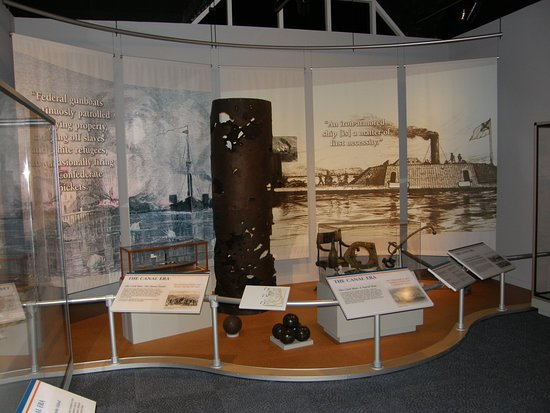 Elizabeth City, NC: This exhibit features the smokestack from the Confederate ironclad CSS Albemarle.