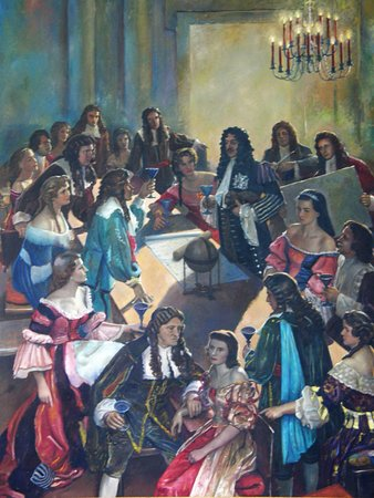 Elizabeth City, NC: This painting depicts King Charles II meeting with Carolina's eight Lords Proprietors.