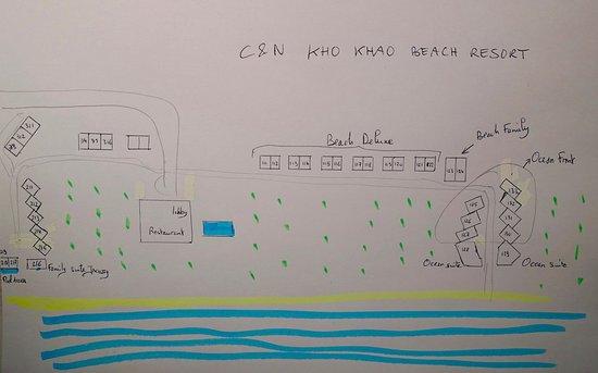 Ko Kho Khao, Tajlandia: Plan sommaire, permettant de situer l'emplacement des différents bungalows