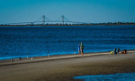 Surf fishing with Sidney Lanier Bridge in background