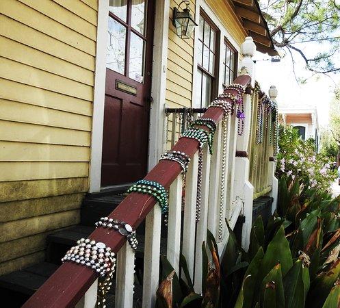 Garden District: beads on handrails