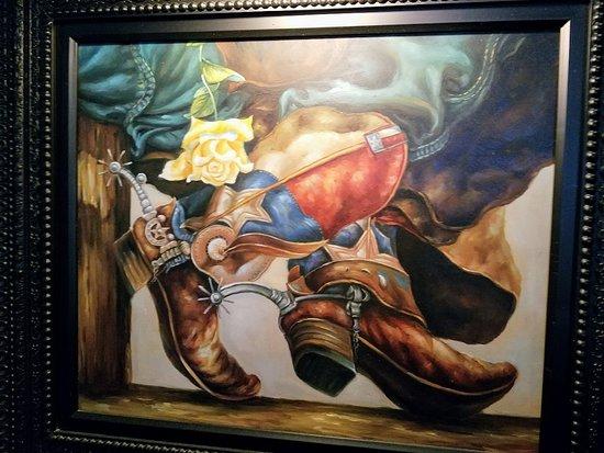 LongHorn Steakhouse: Art work near my table.