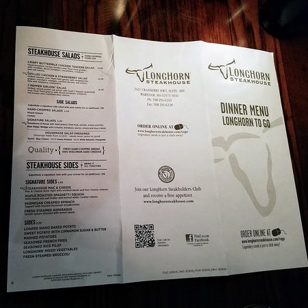 LongHorn Steakhouse: Take Out Menu front.