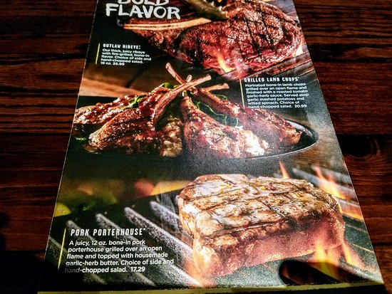 LongHorn Steakhouse: Specials menu off which we both ordered. No need to open big menu. The photos sold us.