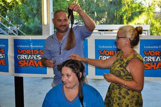 Nerang, Australia: Michael giving the scissors a go