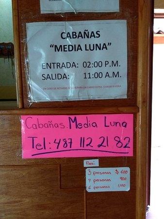 Rio Verde, Mexico: Información de las Cabañas dentro del complejo La Media Luna