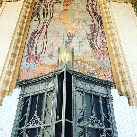 Catalina Island Casino : mermaid over front door with gold leaf & tiles