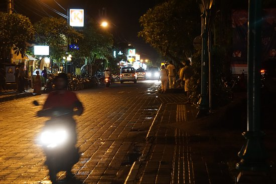 Kebun Bistro: The street in front of the restaurant