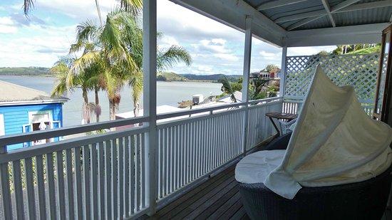 Mangonui, Nuova Zelanda: Balkon von Whitu - toller Blick!