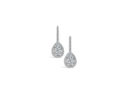 Photo Pear Shape Hanging Diamond Earrings Illusion Set Center Halo Model