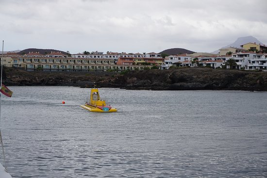 San Miguel de Abona, Spain: A submarine coming home to the marina after a dive!
