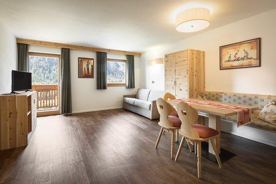 Soggiorno con divano letto appartamento Arnica - Picture of ...