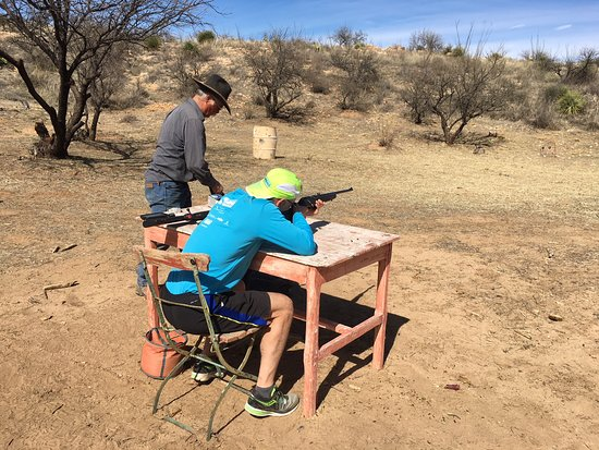 Sasabe, AZ: Ross the wrangler taught us city slickers how to safely shoot a .22 rifle.