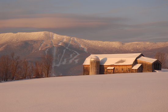 Warren, VT : View of Mt Ellen at Sugarbush from historic Bragg Farm