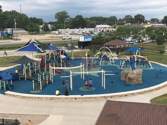 Storm Lake, IA: a view from the lighthouse overlooking the play park