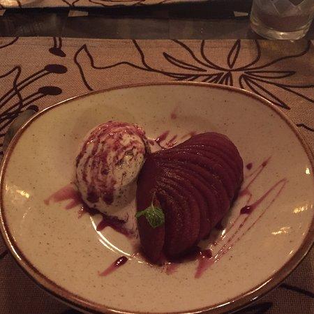 Playa Panama, Costa Rica : Poached Pear Sabayon with Vanilla Ice Cream - Perfect!