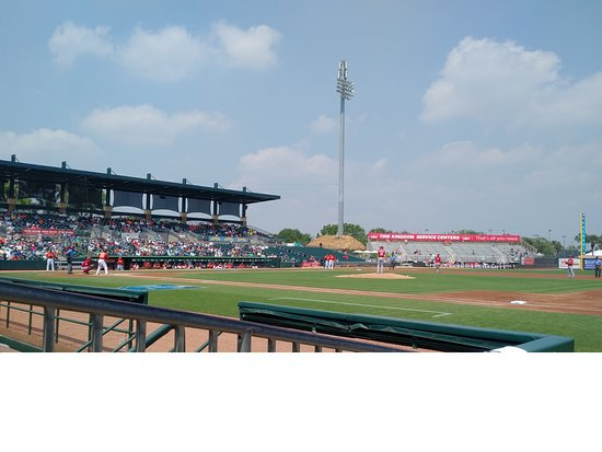 Roger Dean Stadium: First base view from seats beside the dugout.
