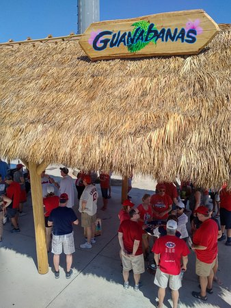 Roger Dean Stadium: There is a tiki bar behind the third base bullpen.