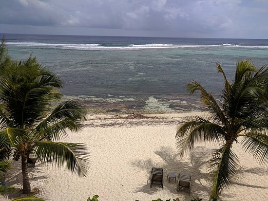 Bodden Town, Grand Cayman: view of beach from our balcony