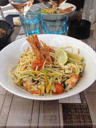 Les Terrasses de Saint Pierre : wok de crevettes