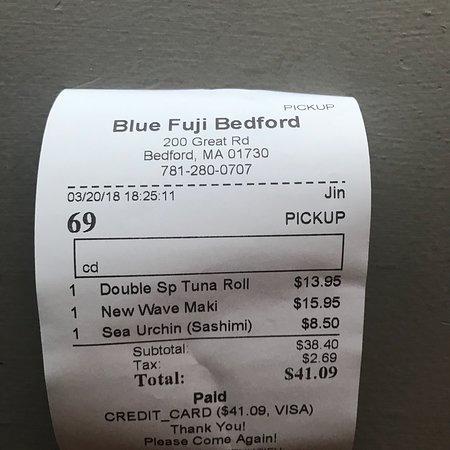 Bedford, MA: Receipt
