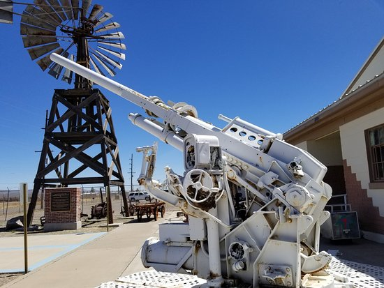 Windmill and artillery outside museum, Lordsburg NM