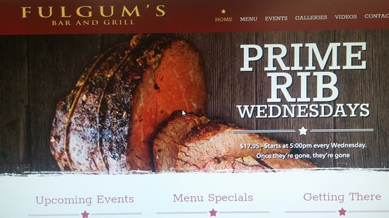 Montrose, Estado de Nueva York: Fulgum's website advertising Prime Rib special for $17.95
