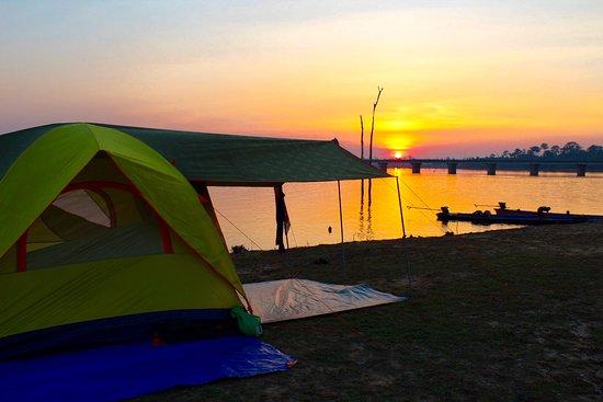 Beautiful sunset at the camp on Nam Theun 2 in Thalang Khammouane Laos