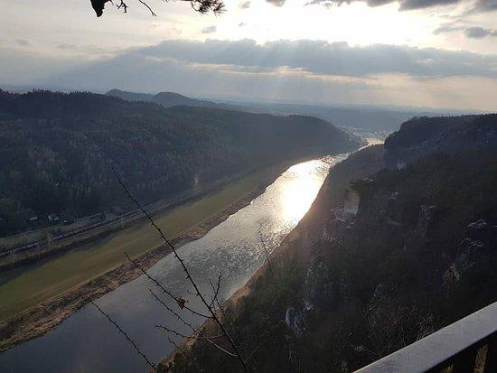 Bastei, Germany: Закат на Эльбе