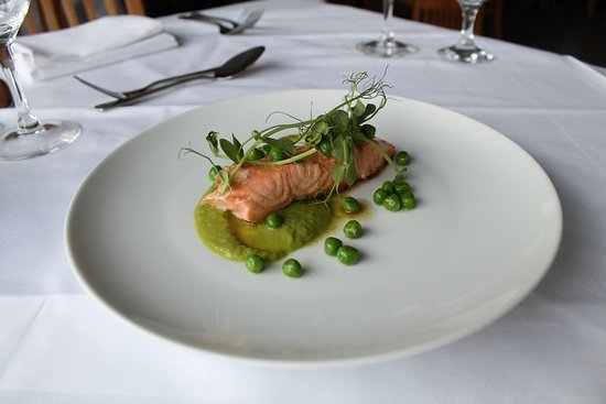 The Dining Room At Royal Sportsman Hotel Salmon With Wasabi Pea Puree