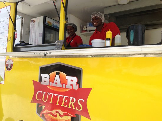 Rockley, Barbados: Keisha and Jamal owners of B.A.R CUTTERS