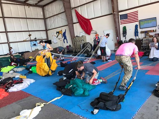 Tullahoma, TN: Packing parachutes so we can jump them again!