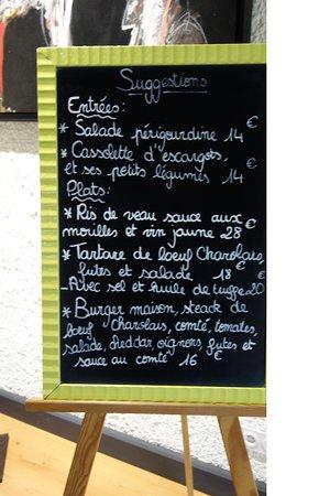 Hotel la Fontaine : Menu du jour (mars 2018)